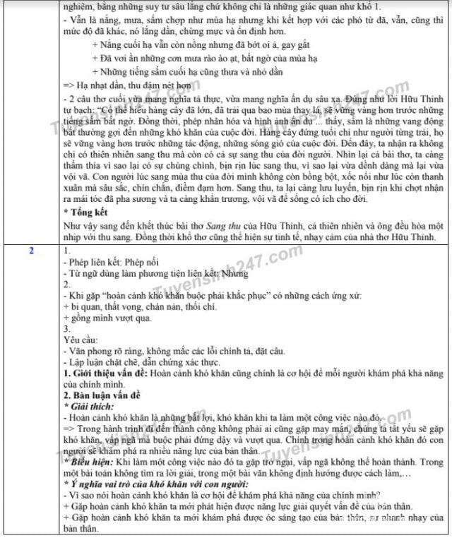 Đáp án đề thi vào lớp 10 môn ngữ văn 2019 ở hà nội