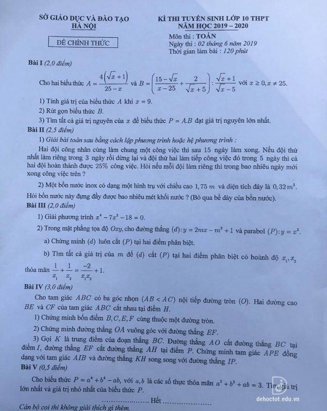 Đề thị vào lớp 10 môn Toán Hà Nội 2019